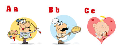 ABC Funny Cartoon Alphabet. Alphabet Letters And Pictures ABC Cartoon Characters Royalty Free Stock Photos