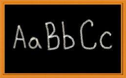 ABC geschrieben auf Tafel Stockbilder