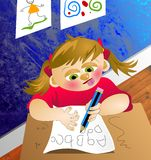 ABC Girl. Young girl in deep concentration writing her alphabet letters at school royalty free illustration