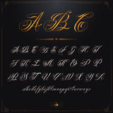 ABC Gold. Hand drawn vector calligraphy tattoo alphabet stock illustration