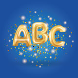 ABC gold letter balloons. On blue background. Golden alphabet balloon logotype, icon logo. Metallic Gold ABC Balloons. Shine type for school, study, children vector illustration