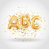 ABC gold letter balloons. Golden alphabet balloon logotype, icon logo. Metallic Gold ABC Balloons. Shine type for school, study, children, kids, read. Shiny stock illustration