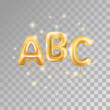 ABC gold letter balloons. On transparent background. Golden alphabet balloon logotype, icon. Metallic Gold ABC Balloons. Text for children`s reading, hornbook vector illustration