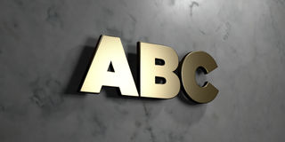 Abc - Gold sign mounted on glossy marble wall - 3D rendered royalty free stock illustration. This image can be used for an online website banner ad or a print vector illustration