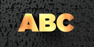 Abc - Gold text on black background - 3D rendered royalty free stock picture. This image can be used for an online website banner ad or a print postcard stock illustration