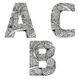 ABC. Group of  abc letters, vector illustration, doodle sketchy style Royalty Free Stock Photo