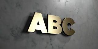 Abc - guld- tecken som monteras på den glansiga marmorväggen - 3D framförde den fria materielillustrationen för royalty Royaltyfria Bilder