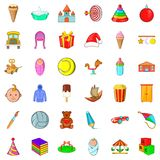 Abc icons set, cartoon style Royalty Free Stock Photo