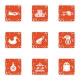 Abc icons set, grunge style. Abc icons set. Grunge set of 9 abc vector icons for web isolated on white background stock illustration