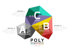ABC infographics vector. Geometric low poly abstract design Royalty Free Stock Photos