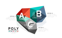 ABC infographics vector. Geometric low poly abstract design Royalty Free Stock Images