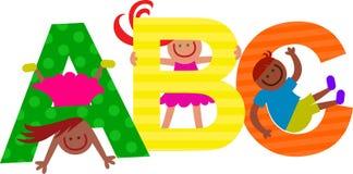 ABC intitola i bambini del testo Fotografie Stock Libere da Diritti