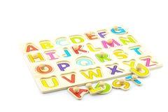ABC juega en el fondo blanco, juguete inteligente Foto de archivo