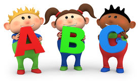 ABC kids. Cute little cartoon kids holding ABC letters - high quality 3d illustration stock illustration