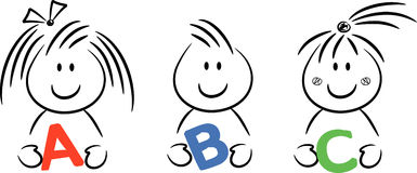 ABC Kids. Three happy kids holding letters A, B and C in their hands vector illustration