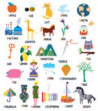 Abc for kids with animals, objects, toys. And flowers stock illustration