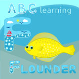 ABC kids F letter ABC learning Funny animal alphabet Happy sea flounder fish Yellow large spotted fish cartoon character Cartoon f Stock Image