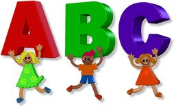 Abc Kids. A group of happy 3d children holding up letters of the alphabet stock illustration