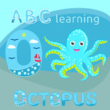 ABC kids Sea animal alphabet O letter Cute baby octopus vector Cyan blue spotted cartoon character Ocean animal, sea life, funny s Royalty Free Stock Photo