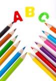 ABC, kredki, kornet Fotografia Stock