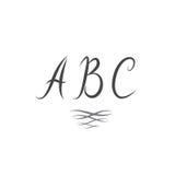 ABC Línea del remolino del alfabeto de las letras latinas sola Vinta manuscrito Imagen de archivo libre de regalías