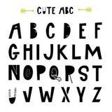 ABC - Latijns alfabet Unieke kinderdagverblijfaffiche met brieven in Skandinavische stijl Royalty-vrije Illustratie