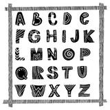 ABC - Latin alphabet poster. ABC - Latin alphabet. Cute hand drawn nursery poster in scandinavian style, black and white art vector illustration