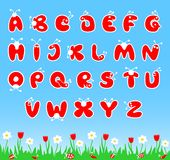 ABC latin alphabet. Latin alphabet stylized as bugs, for children preschool education. Vector illustration Royalty Free Stock Photography