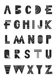 ABC - Latin alphabet. Unique nursery poster with letters in scandinavian style. Vector illustration Stock Photo