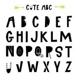 ABC - Latin alphabet. Unique nursery poster with letters in scandinavian style. Vector illustration Royalty Free Stock Photos