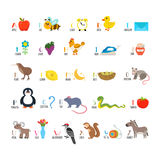 ABC. Learn to read. Children alphabet with cute cartoon animals. And other funny elements. Vector illustration Stock Photography