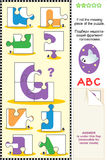 ABC learning educational puzzle - letter G (ghost) Royalty Free Stock Photo