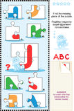 ABC learning educational puzzle - letter J (jellyfish) Royalty Free Stock Images