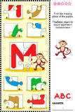 ABC learning educational puzzle - letter M (monkey). What's missing? Visual educational puzzle to learn with fun the letters of English alphabet: letter M (M is stock illustration