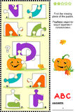ABC learning educational puzzle - letter P (pumpkin). What's missing? Visual educational puzzle to learn with fun the letters of English alphabet: letter P (P is stock illustration