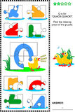 ABC learning educational puzzle - letter Q (quack-quack) Royalty Free Stock Photo
