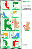 ABC learning educational puzzle - letter R (rabbit) Stock Photos