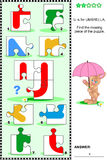 ABC learning educational puzzle - letter U (umbrella) Stock Photos