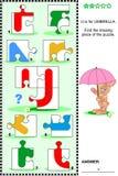 ABC learning educational puzzle - letter U (umbrella) Stock Photos