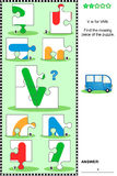 ABC learning educational puzzle - letter V (van) Stock Image