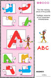 ABC learning educational puzzle with letter A Stock Image