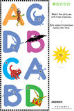 ABC learning shadow game with letters A, B, C, D. Visual educational puzzle to learn with fun the letters of English alphabet: Match pictures of letters A, B, C vector illustration