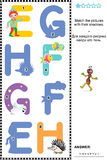 ABC learning shadow game with letters E, F, G, H. Visual educational puzzle to learn with fun the letters of English alphabet: Match pictures of letters E (elf stock illustration