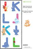 ABC learning shadow game with letters I, J, K, L. Visual educational puzzle to learn with fun the letters of English alphabet: Match pictures of letters I (ice stock illustration
