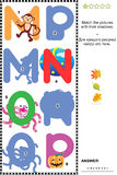 ABC learning shadow game with letters M, N, O, P. Visual educational puzzle to learn with fun the letters of English alphabet: Match pictures of letters M ( stock illustration
