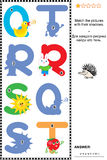 ABC learning shadow game with letters Q, R, S, T. Visual educational puzzle to learn with fun the letters of English alphabet: Match pictures of letters Q (quack Royalty Free Stock Photography