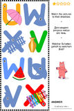 ABC learning shadow game with letters U, V, W, X Stock Photo