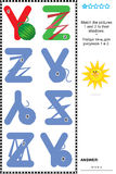 ABC learning shadow game with letters Y, Z. Visual educational puzzle to learn with fun the letters of English alphabet: Match pictures of letters Y (yarn) and Z vector illustration