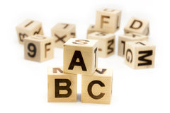 ABC Letter Blocks. Alphabet letter blocks on the white background, ABC in front royalty free stock image