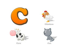 ABC letter C funny kid icons set: chicken, cow, cat. Full English alphabet children education collection Stock Photo